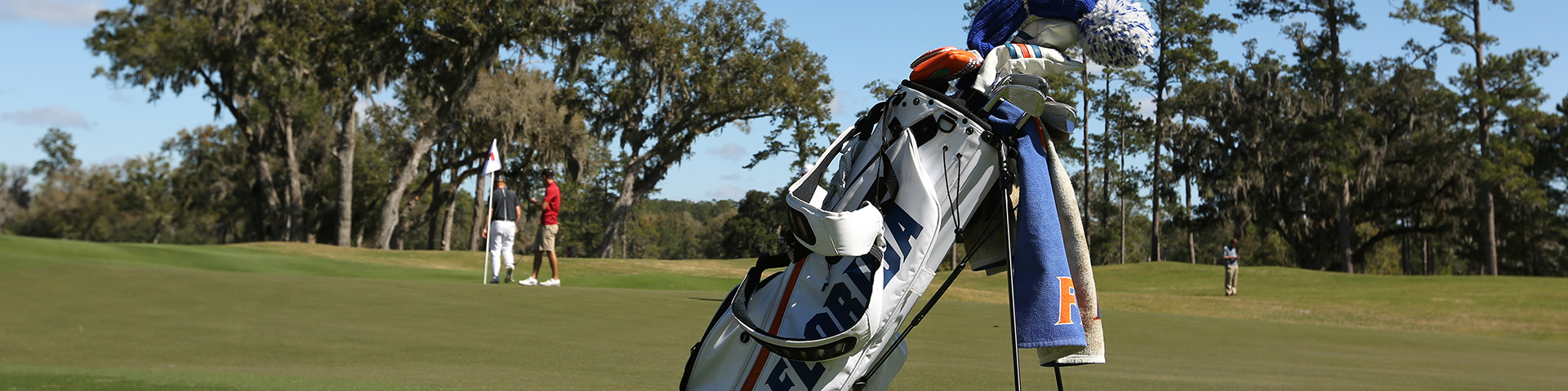 Florida Gators bag sitting on putting green
